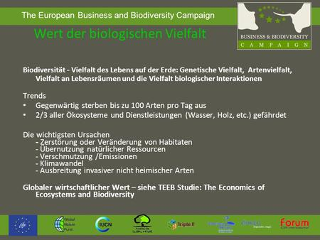 The European Business and Biodiversity Campaign Wert der biologischen Vielfalt Biodiversität - Vielfalt des Lebens auf der Erde: Genetische Vielfalt, Artenvielfalt,