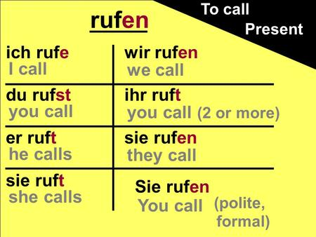 Ich rufe du rufst er ruft sie ruft wir rufen ihr ruft sie rufen rufen Present Sie rufen (polite, formal) You call we call you call (2 or more) they call.