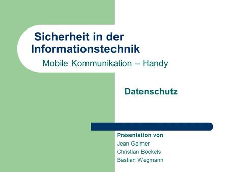 Sicherheit in der Informationstechnik