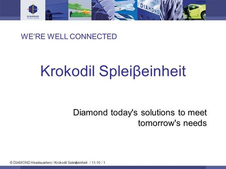 © DIAMOND Headquarters / Krokodil Splei einheit / 11-10 / 1 WERE WELL CONNECTED Krokodil Spleiβeinheit Diamond today's solutions to meet tomorrow's needs.