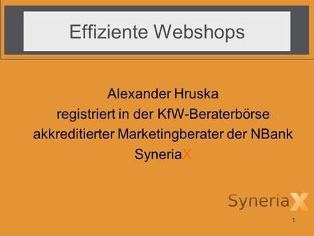 1 Effiziente Webshops Alexander Hruska registriert in der KfW-Beraterbörse akkreditierter Marketingberater der NBank SyneriaX.