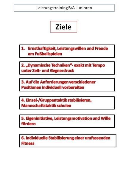 Leistungstraining B/A-Junioren Ziele. Leistungstraining B/A-Junioren Leitlinien.