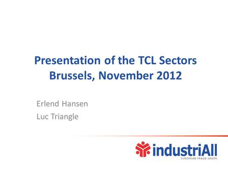 Presentation of the TCL Sectors Brussels, November 2012 Erlend Hansen Luc Triangle.