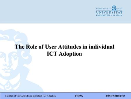 WiPäF WS 2010/2011 Kira Baborsky, Christian Wunschik Seite 1 The Role of User Attitudes in individual ICT Adoption The Role of User Attitudes in individual.