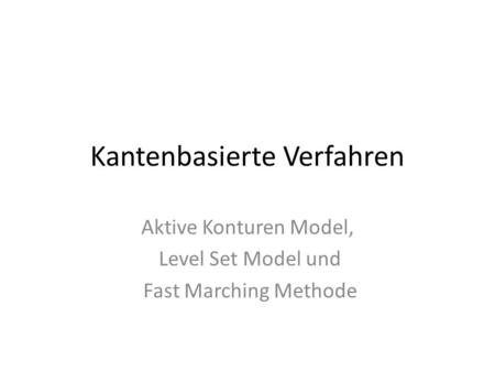 Kantenbasierte Verfahren Aktive Konturen Model, Level Set Model und Fast Marching Methode.