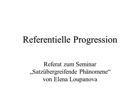 Referentielle Progression