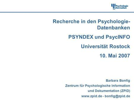 Recherche in den Psychologie-Datenbanken PSYNDEX und PsycINFO
