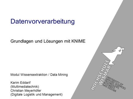 Modul Wissensextraktion / Data Mining Karim Eddarif (Multimediatechnik) Christian Meyerhöfer (Digitale Logistik und Management) Datenvorverarbeitung Grundlagen.