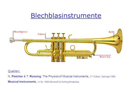 Blechblasinstrumente Quellen: N. Fletcher & T. Rossing: The Physics of Musical Instruments, 2 nd Edition, Springer 1999 Musical Instruments, v1.0a, 1992.