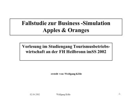 Fallstudie zur Business -Simulation Apples & Oranges