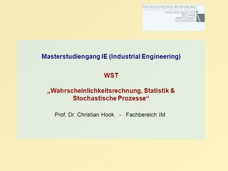 Masterstudiengang IE (Industrial Engineering)