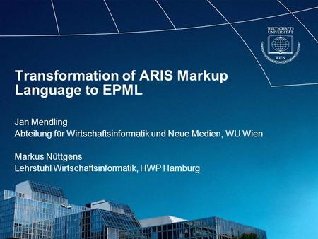 Transformation of ARIS Markup Language to EPML
