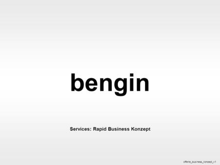 Bengin 1 © 2005 bengin.com Business Konzept bengin Services: Rapid Business Konzept offerte_business_konzept_v1.