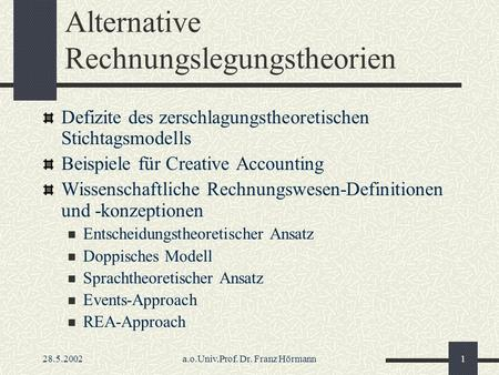 Alternative Rechnungslegungstheorien