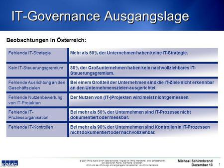 IT-Governance Ausgangslage