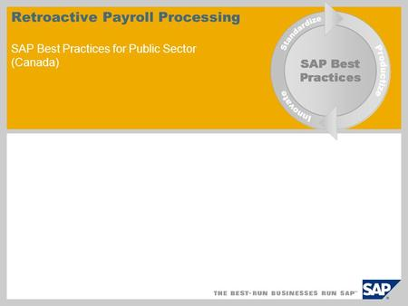 Retroactive Payroll Processing SAP Best Practices for Public Sector (Canada)