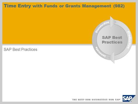 Time Entry with Funds or Grants Management (982) SAP Best Practices.