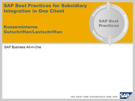 SAP Best Practices for Subsidiary Integration in One Client Konzerninterne Gutschriften/Lastschriften EHP4 for SAP ERP 6.0 SAP Business All-in-One.