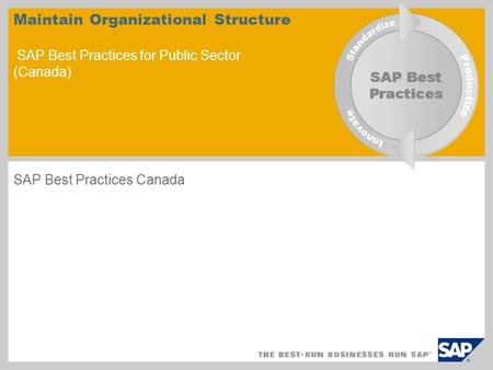 Maintain Organizational Structure SAP Best Practices for Public Sector (Canada) SAP Best Practices Canada.