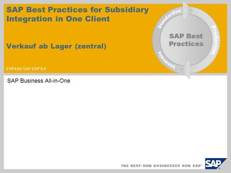 SAP Best Practices for Subsidiary Integration in One Client Verkauf ab Lager (zentral) EHP4 for SAP ERP 6.0 SAP Business All-in-One.
