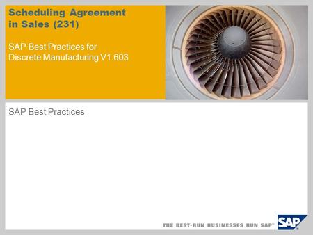 Scheduling Agreement in Sales (231) SAP Best Practices for Discrete Manufacturing V1.603 SAP Best Practices.