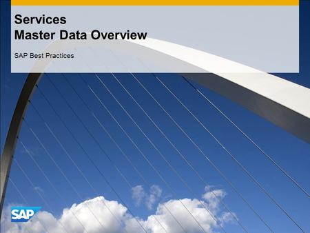 Services Master Data Overview SAP Best Practices.