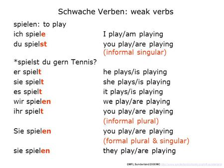 Schwache Verben: weak verbs spielen: to play ich spieleI play/am playing du spielstyou play/are playing (informal singular) *spielst du gern Tennis? er.