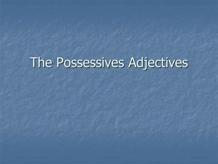 The Possessives Adjectives. What is a possessive adjective? Circle the possessive adjectives. I have a piece of cheese on my sandwich. I have a piece.