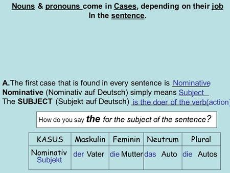 A.The first case that is found in every sentence is Nominative (Nominativ auf Deutsch) simply means The SUBJECT (Subjekt auf Deutsch) Nominative Subject.