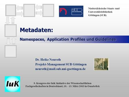 Metadaten: Namespaces, Application Profiles und Guidelines Dr. Heike Neuroth Projekt-Management SUB Göttingen Niedersächsische.