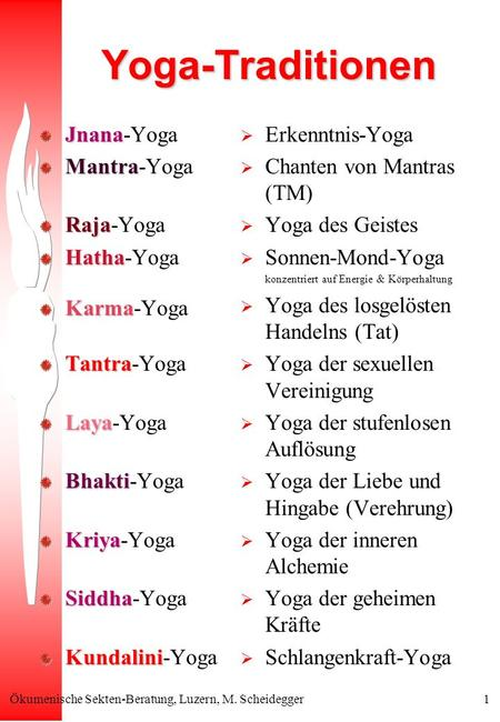 Yoga-Traditionen Jnana-Yoga Mantra-Yoga Raja-Yoga Hatha-Yoga