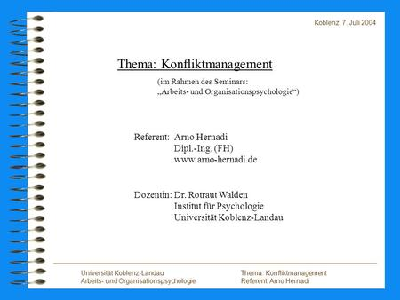 Thema: Konfliktmanagement