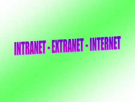 INTRANET - EXTRANET - INTERNET