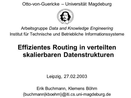 Effizientes Routing in verteilten skalierbaren Datenstrukturen