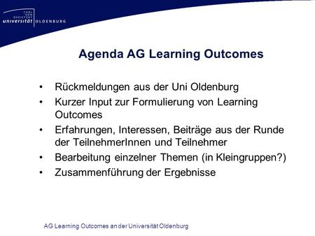 Agenda AG Learning Outcomes