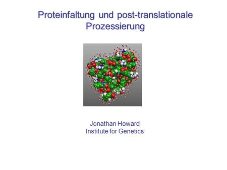 Proteinfaltung und post-translationale Prozessierung Jonathan Howard Institute for Genetics.