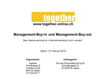 Management-Buy-in und Management-Buy-out