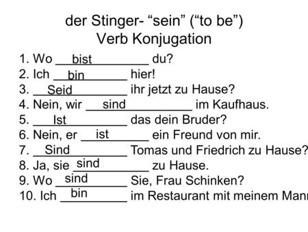 "der Stinger- ""sein"" (""to be"") Verb Konjugation"