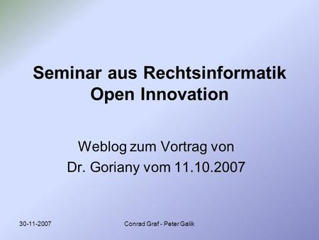 Seminar aus Rechtsinformatik Open Innovation