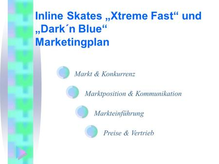 "Inline Skates ""Xtreme Fast"" und ""Dark´n Blue"" Marketingplan"