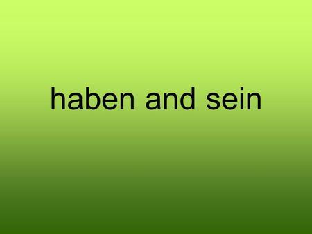 haben i sein u njemačkom jeziku