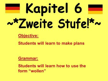 Objective: Students will learn to make plans Grammar: Students will learn how to use the form wollen.