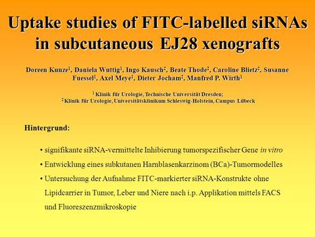 Uptake studies of FITC-labelled siRNAs in subcutaneous EJ28 xenografts Doreen Kunze 1, Daniela Wuttig 1, Ingo Kausch 2, Beate Thode 2, Caroline Blietz.
