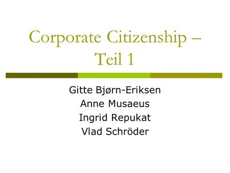 Corporate Citizenship – Teil 1