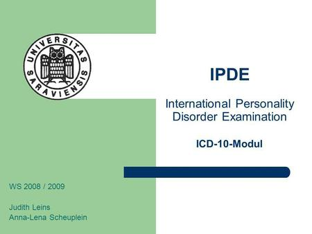 IPDE International Personality Disorder Examination ICD-10-Modul