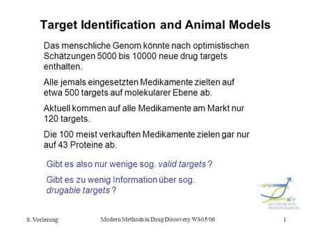8. Vorlesung Modern Methods in Drug Discovery WS05/06 1 Target Identification and Animal Models Das menschliche Genom könnte nach optimistischen Schätzungen.