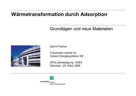 Wärmetransformation durch Adsorption