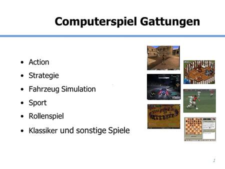 Computerspiel Gattungen