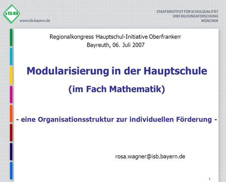 Regionalkongress 'Hauptschul-Initiative Oberfranken'