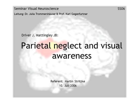 Parietal neglect and visual awareness